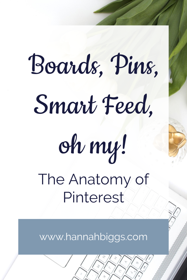 """Stock photo with text overlay """"Boards, Pins, Smart Feed, oh my! The anatomy of Pinterest"""""""