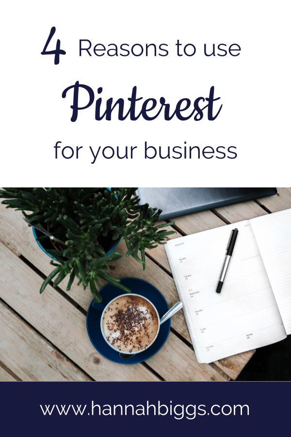 "Stock photo of coffee and notebook on a desk with text overlay ""4 Reasons to use Pinterest for your business."""