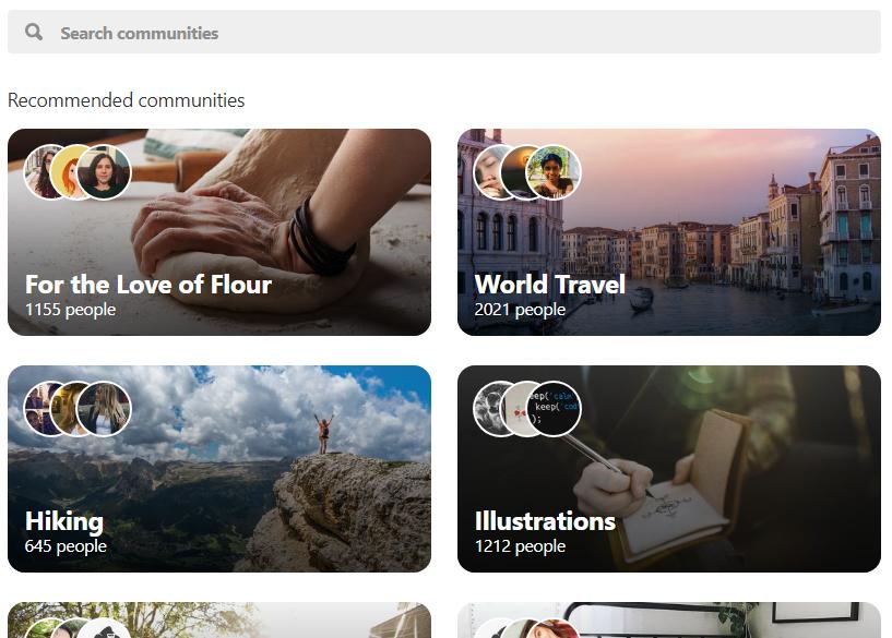 Screenshot of Pinterest Community page